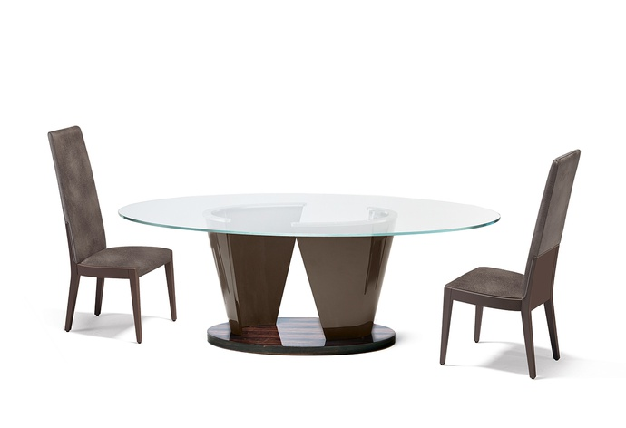 Avantgarde Plus Oval Glass Top Dining Table